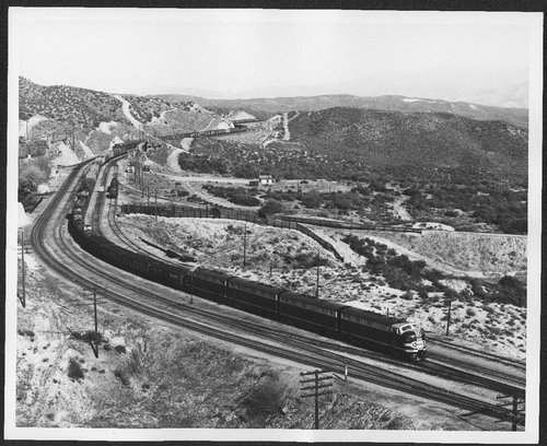 Atchison, Topeka and Santa Fe locomotive #266C traveling on Cajon Pass in Summit, California - Page