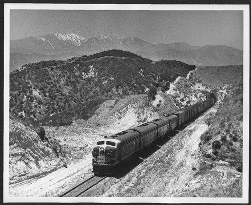 Atchison, Topeka & Santa Fe locomotive #251 climbing the Cajon Pass in California - Page
