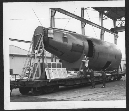 Atchison, Topeka, and Santa Fe flat car ATSF 90081 modified to transport sections of the Boeing 737 jet liner. - Page