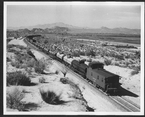 Atchison, Topeka, and Santa Fe manifest train near Victorville, CA. - Page