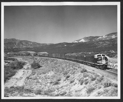 Atchison, Topeka, and Santa Fe Railway Company's diesel engine, Cajon Pass, California. - Page