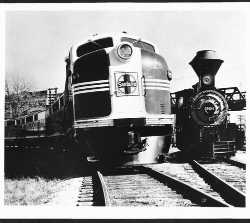 Atchison, Topeka and Santa Fe Railway Company's  FT 100 and steam locomotive# 2414, Topeka, Kansas - Page