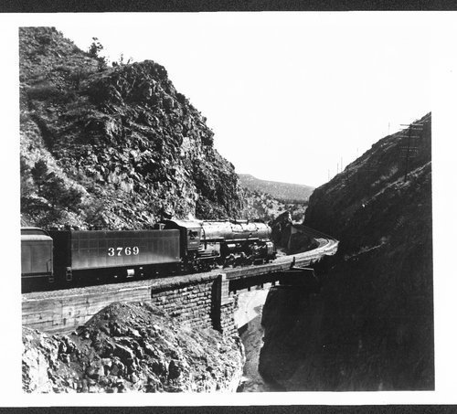 Atchison, Topeka & Santa Fe Railway Company steam engine # 3769, Apache Canyon, New Mexico - Page