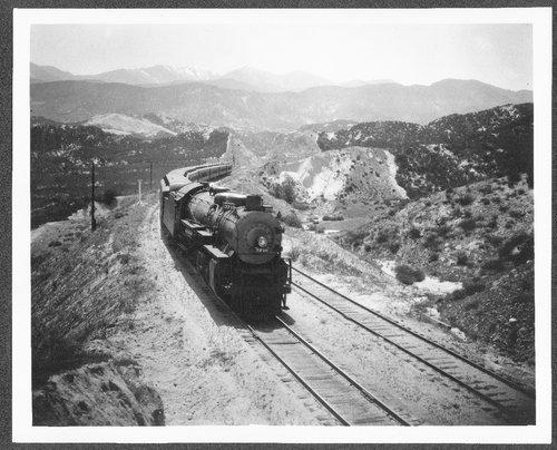 Atchison, Topeka & Santa Fe Railway Company's engine # 3710 Alray Cajon Pass, California - Page