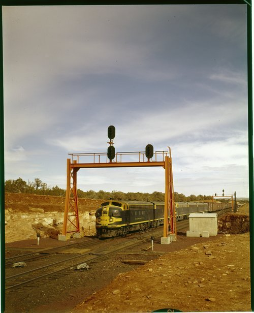 Atchison, Topeka & Santa Fe Railway Company freight train, Eagle Nest station, Arizona - Page