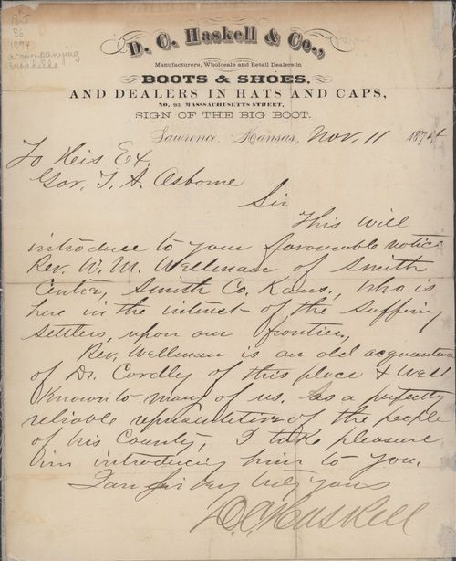 D. C. Haskell to Governor Thomas Osborne - Page