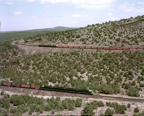 Atchison, Topeka and Santa Fe eastbound and westbound trains, Corva, Arizona - Page