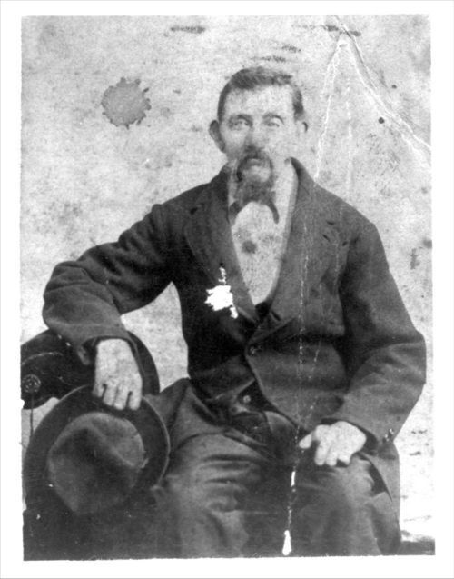 A photograph of Jens Rasmussen, 1870s. Born in Denmark, he immigrated to the United States in 1866, changed his last name to Jensen and settled near Troy in Doniphan County.