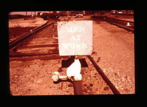 "Atchison, Topeka & Santa Fe ""MEN AT WORK"" sign - Page"