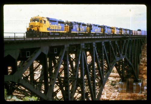 Atchison, Topeka & Santa Fe freight train crossing the Canyon Diablo Bridge - Page