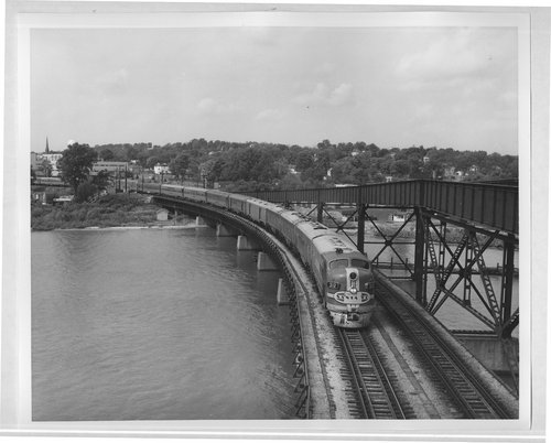 Atchison, Topeka and Santa Fe train No. 1, the San Francisco Chief, crossing the Mississippi River at Ft. Madison, Iowa - Page