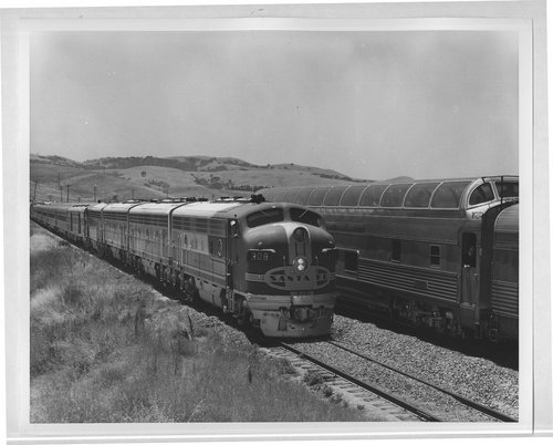 Atchison, Topeka & Santa Fe trains No. 20 and No. 19, The Chiefs, meet on the Raton Pass in New Mexico - Page