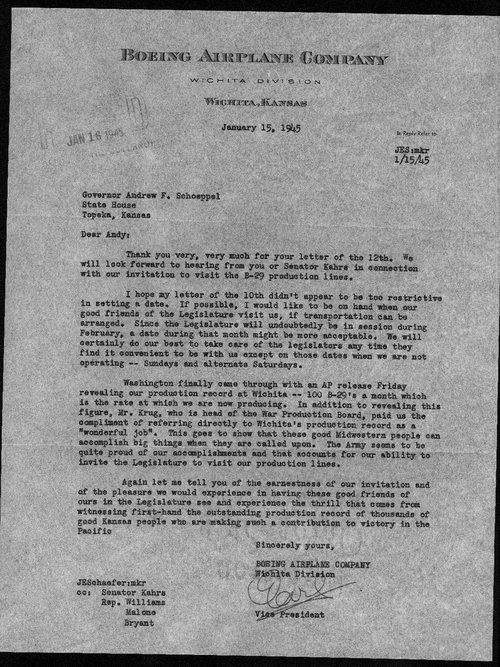 Earl Schaefer to Governor Andrew Schoeppel - Page