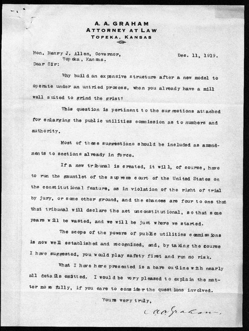 A.A. Graham to Governor Henry J. Allen - Page