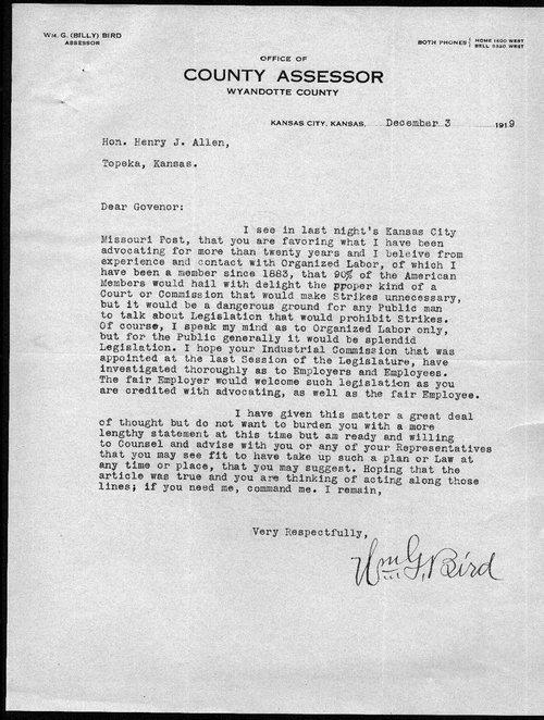 Wm. G. Bird to Governor Henry Allen - Page