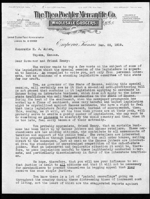 A. H. Gufler to Governor Henry Allen - Page