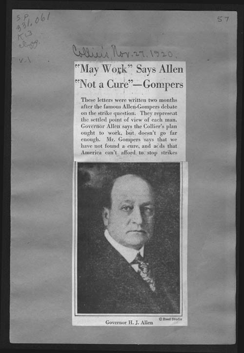 Allen and Gompers debate letters - Page