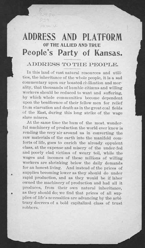 Address and Platform of the Allied and True People's Party of Kansas. - Page