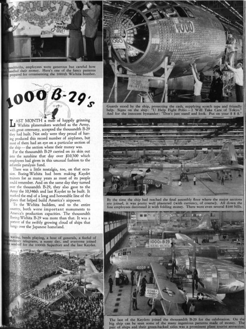 First page and link to article in the Boeing Magazine, March 1945, covers the completion of the 1,000 B-29 Superfortress in Wichita.
