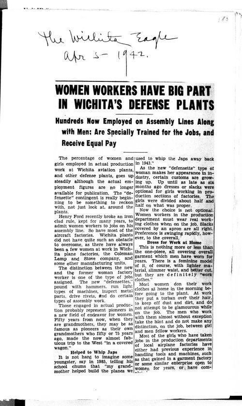 Women workers have big part in Wichita's defense plants - Page