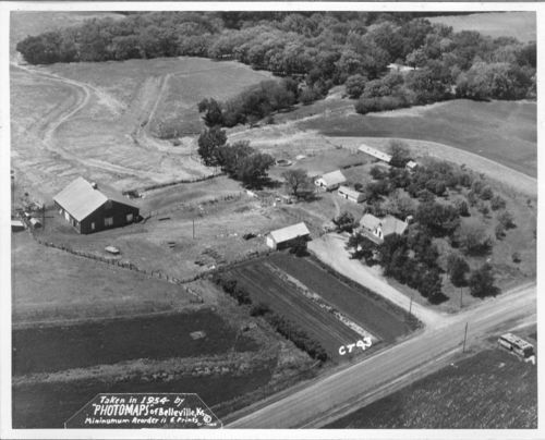 An aerial view of the Elton Raymond and Nora Helen Allen farm located northwest of Soldier, Jackson County, 1954