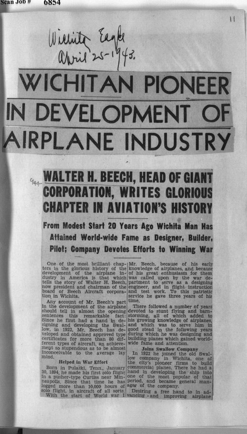 Wichitan pioneer in development of airplane industry - Page