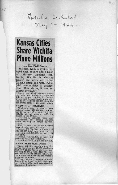 Kansas Cities Share Wichita Plane Millions - Page