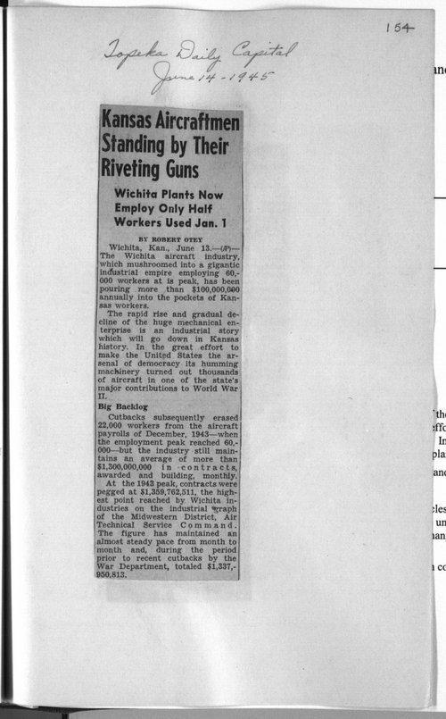 Kansas aircraftmen standing by their riveting guns - Page