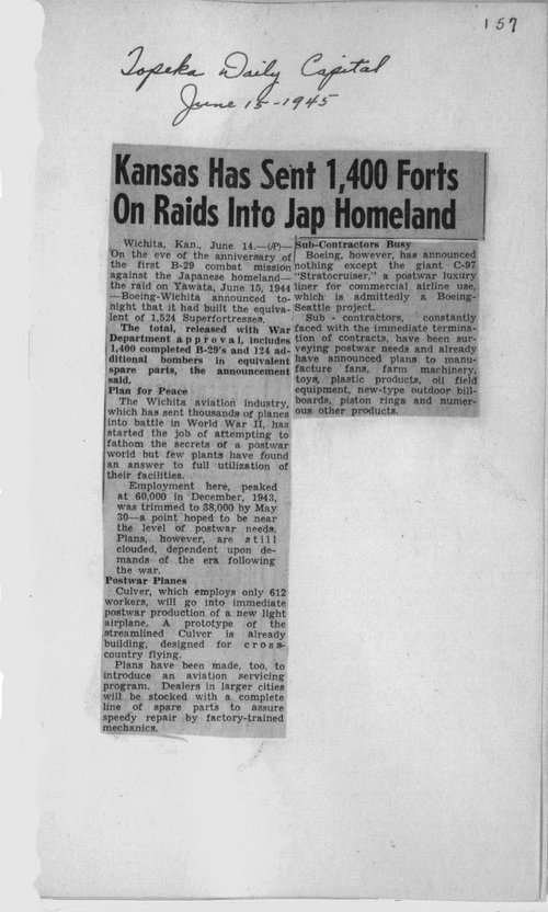 Kansas has sent 1,400 Forts on raids into Jap homeland - Page