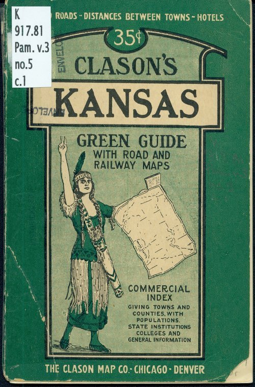 Clason's Kansas green guide with road and railway maps - Page