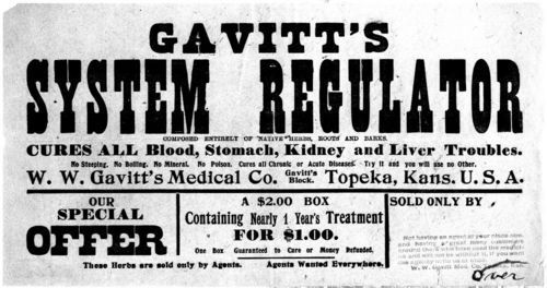 Advertisements for W. W. Gavitt Medical Company, Topeka, Kansas - Page