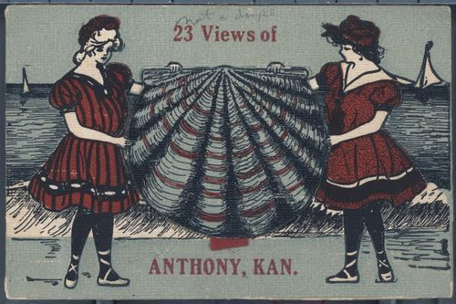 Corner Drug Store promotional post card: 23 Views of Anthony, Kansas - Page