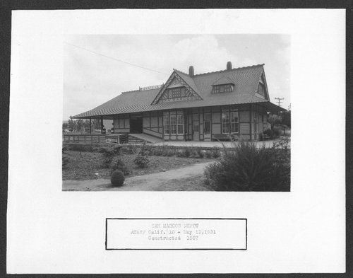 Atchison, Topeka & Santa Fe Railway Company depot, San Marcos, California - Page