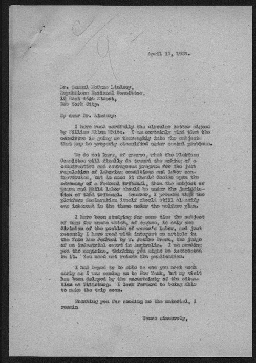 Governor Henry Allen to Samuel McCune Lindsay - Page