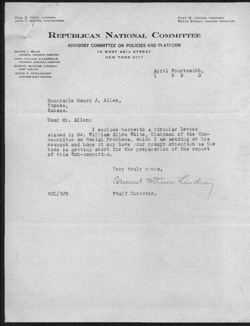 Samuel McCune Lindsay to Governor Henry Allen - Page