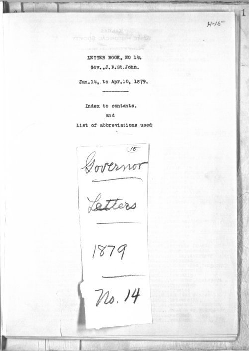 Governor John P. St. John letter press book - Page