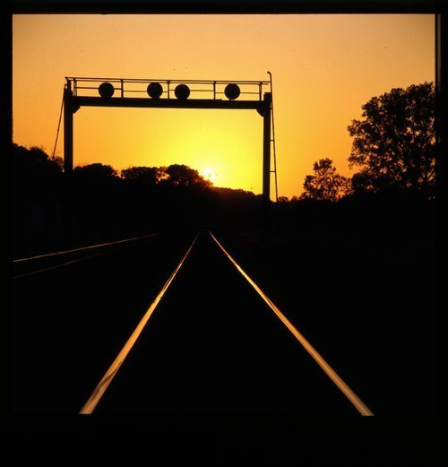 Sunset over the rails near Fort Madison, Iowa - Page