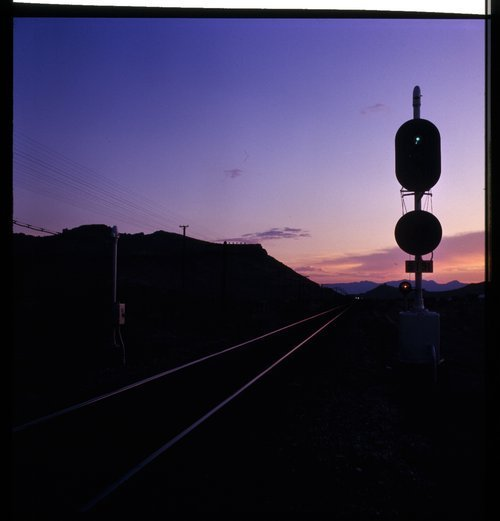 Atchison, Topeka & Santa Fe signal at sunset, Kingman, Arizona - Page