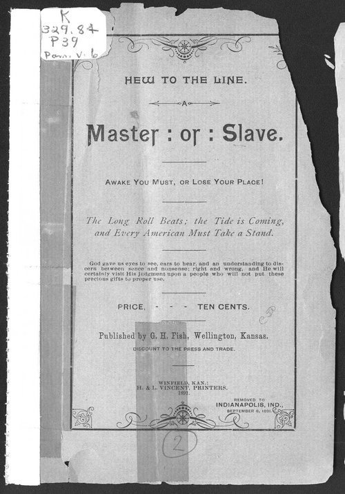 Hew to the line.  A master : or : a slave.  Awake you must, or lose your place - Page