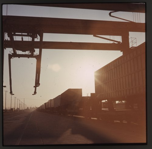 Sunrise over Atchison, Topeka and Santa Fe's Hobart Yard, Los Angeles, California - Page