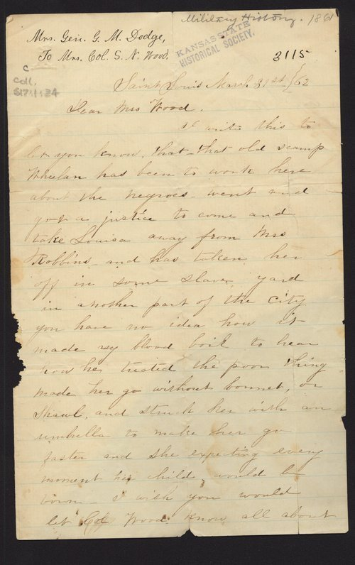 Mrs. Grenville M. Dodge to Mrs. S. N. Wood - Page