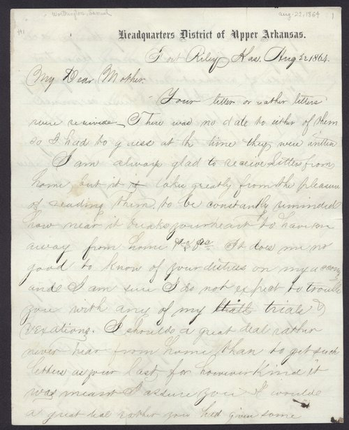 "Samuel Worthington to ""My Dear Mother"" - Page"