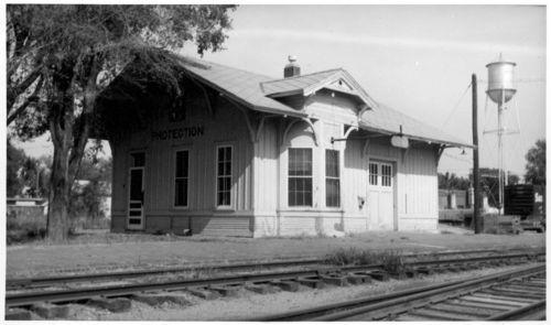 Atchison, Topeka and Santa Fe Railway Company depot, Protection, Kansas - Page