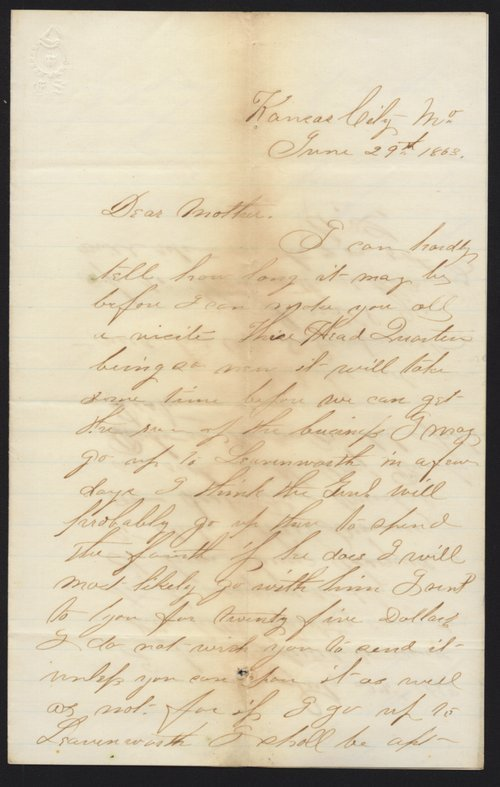 Cyrus Leland, Jr. to Mother and other family members - Page
