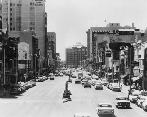 Photo of traffic along Douglas Avenue in downtown Wichita, 1961