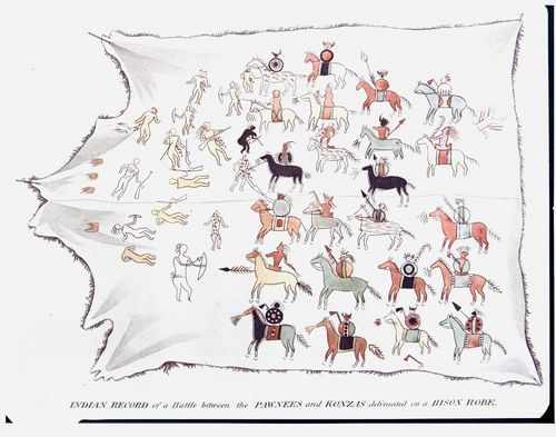 Kansa Indian bison hide painting - Page