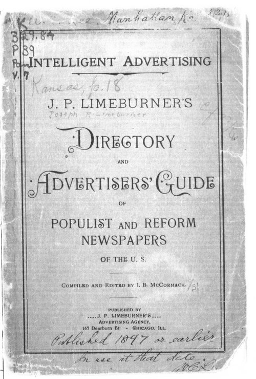 J.P. Limeburner's directory and advertisers' guide of Populist and reform newspapers of the U. S. - Page