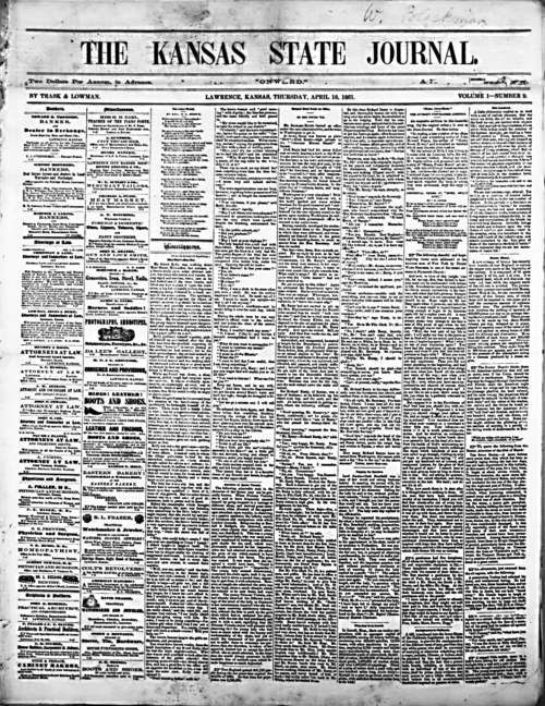 April 18, 1861 issue of The Kansas State Journal, Lawrence, Kansas - Page