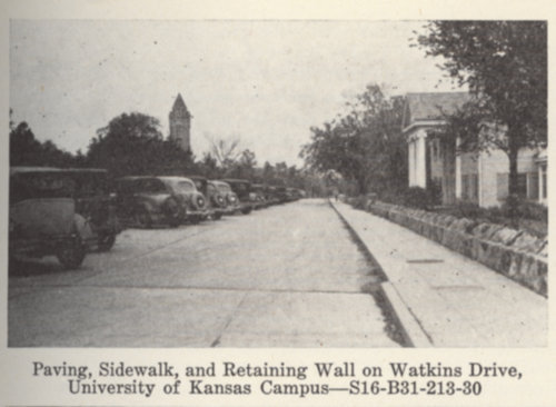 Paving sidewalks and retaining wall on Watkins Drive, University of Kansas, Lawrence, Kansas - Page