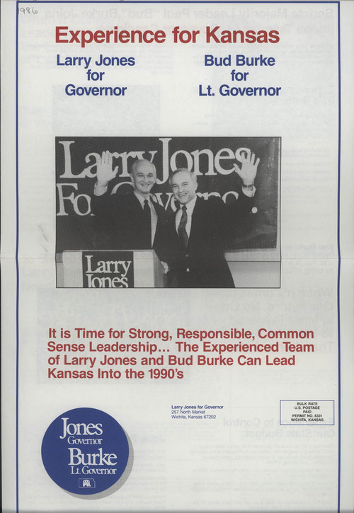 Larry Jones for Governor, Bud Burke for Lt. Governor - Page